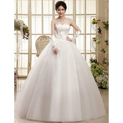 Ball Gown Sweep Brush Train Wedding Dress Sweetheart Tulle