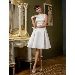 A Line Wedding Dress Ivory Knee Length Bateau Satin