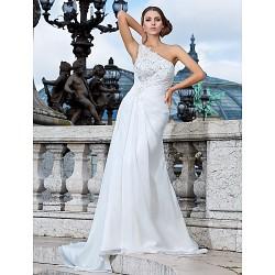 Sheath Column Plus Sizes Wedding Dress Ivory Sweep Brush Train One Shoulder Chiffon