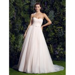 A-line Wedding Dress - Pearl Pink Court Train Sweetheart Tulle Wedding Dresses