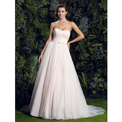 A Line Wedding Dress Pearl Pink Court Train Sweetheart Tulle