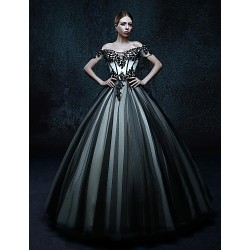 Ball Gown Floor-length Wedding Dress - Off-the-shoulder Tulle