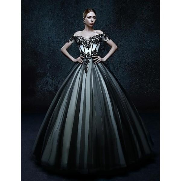 Ball Gown Floor-length Wedding Dress - Off-the-shoulder Tulle Wedding Dresses