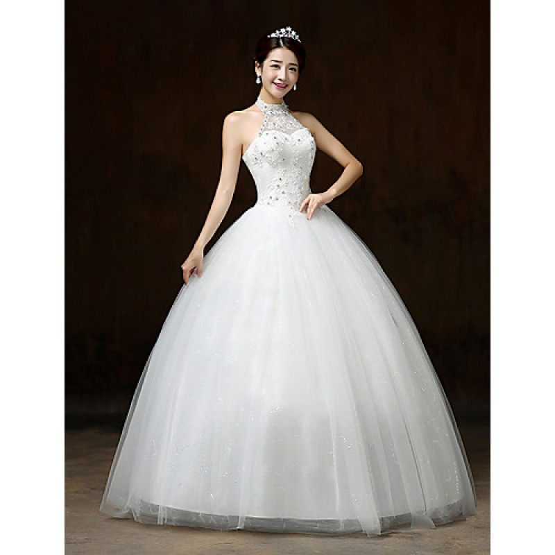 Ball Gown Wedding Dresses Uk: White Floor-length Halter Lace