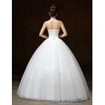 Ball Gown Wedding Dress - White Floor-length Halter Lace / Satin / Tulle Wedding Dresses