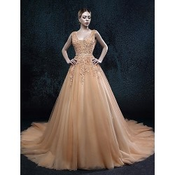 A Line Court Train Wedding Dress V Neck Tulle