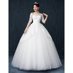 Ball Gown Wedding Dress - White Floor-length Bateau Lace / Satin / Tulle
