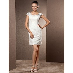Sheath Column Plus Sizes Wedding Dress Ivory Short Mini Scoop Lace