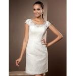 Sheath/Column Plus Sizes Wedding Dress - Ivory Short/Mini Scoop Lace Wedding Dresses