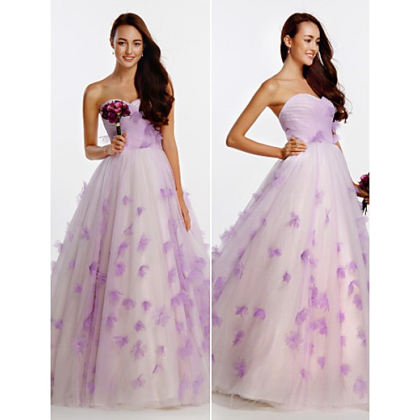A-line Wedding Dress - As Picture Floor-length Sweetheart Tulle Wedding Dresses