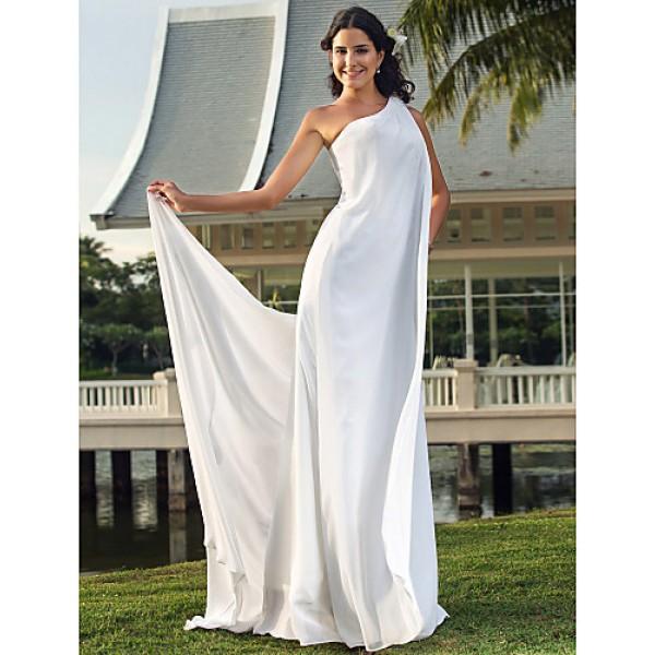 Sheath/Column Plus Sizes Wedding Dress - Ivory Floor-length One Shoulder Chiffon Wedding Dresses