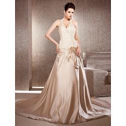 A Line Princess Plus Sizes Wedding Dress Champagne Chapel Train V Neck Satin Lace