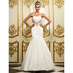 Fit & Flare Plus Sizes Wedding Dress Ivory Floor Length Strapless Satin