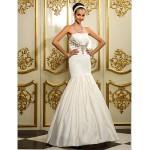Fit & Flare Plus Sizes Wedding Dress - Ivory Floor-length Strapless Satin Wedding Dresses