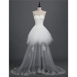 A Line Bride Wedding Dress White Asymmetrical Sweetheart Lace Tulle Front Short Back Long