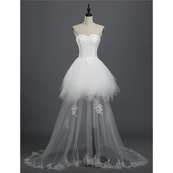 A-line Bride Wedding Dress - White Asymmetrical Sweetheart Lace / Tulle front short back long Wedding Dresses