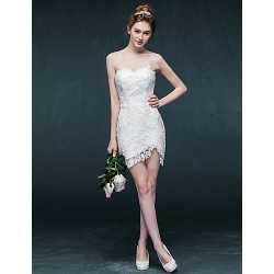 Sheath Column Short Mini Wedding Dress Sweetheart Lace