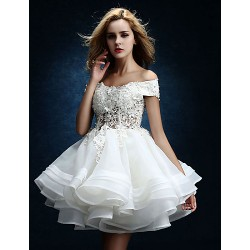 A Line Wedding Dress White Knee Length Off The Shoulder Tulle