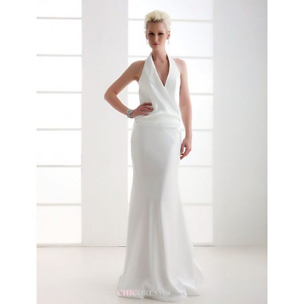 Sheath/Column Plus Sizes Wedding Dress - Ivory Floor-length V-neck Stretch Satin Wedding Dresses