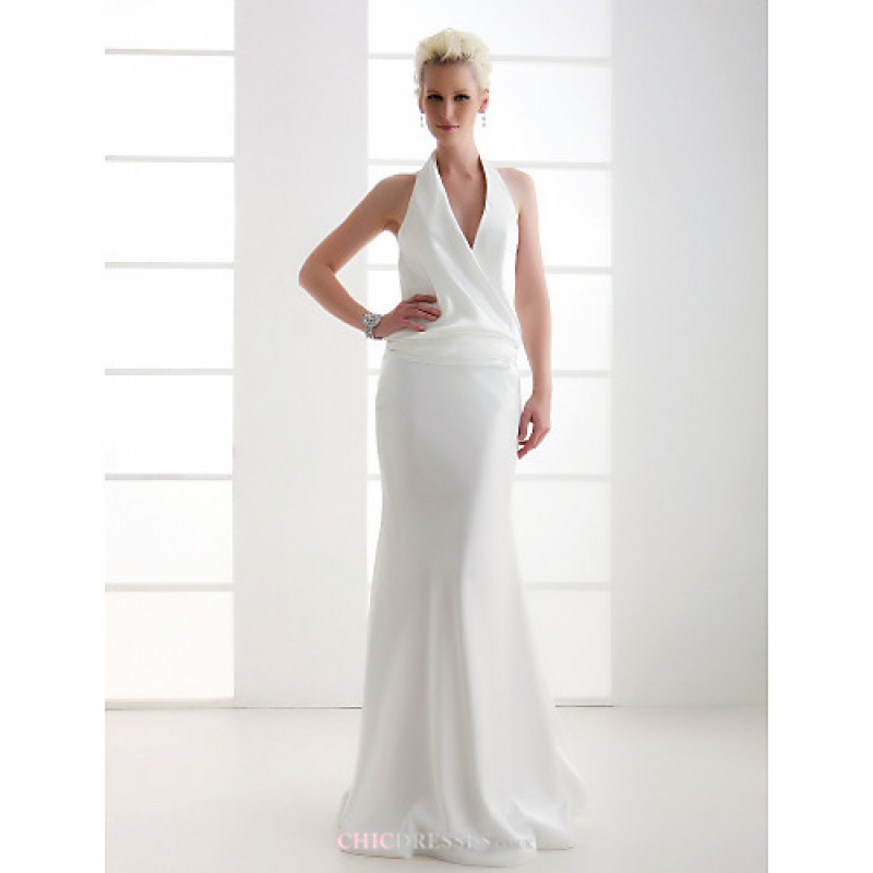 Sheath column plus sizes wedding dress ivory floor for Plus size sheath wedding dress