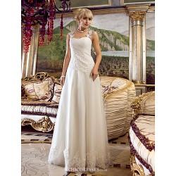 A Line Wedding Dress Ivory Floor Length Off The Shoulder Tulle
