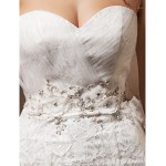 Fit & Flare Wedding Dress - Ivory Court Train Sweetheart Lace/Organza Wedding Dresses