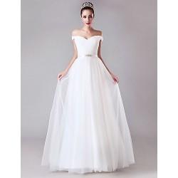 Sheath Column Wedding Dress White Floor Length Off The Shoulder Tulle