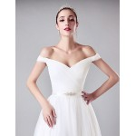 Sheath/Column Wedding Dress - White Floor-length Off-the-shoulder Tulle Wedding Dresses