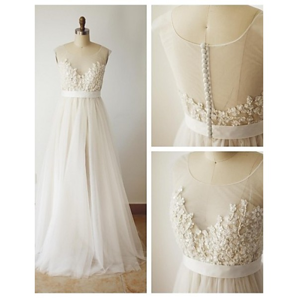 A-line Wedding Dress - Champagne Sweep/Brush Train Scoop Lace Wedding Dresses