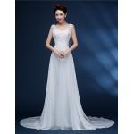 A-line Bride Wedding Dress - White Court Train V-neck Chiffon / Lace Wedding Dresses