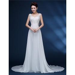 A Line Bride Wedding Dress White Court Train V Neck Chiffon Lace