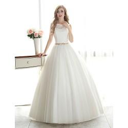 Ball Gown Wedding Dress White Floor Length Bateau Lace Organza