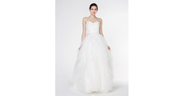 Cheap Fancy A Line Strapless Chapel Train Organza Simple: Ivory Court Train Strapless Lace