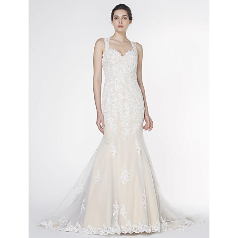 Trumpet mermaid wedding dress ivory court train for Ivory trumpet wedding dress