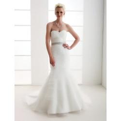 Trumpet Mermaid Plus Sizes Wedding Dress Ivory Court Train Sweetheart Satin Organza