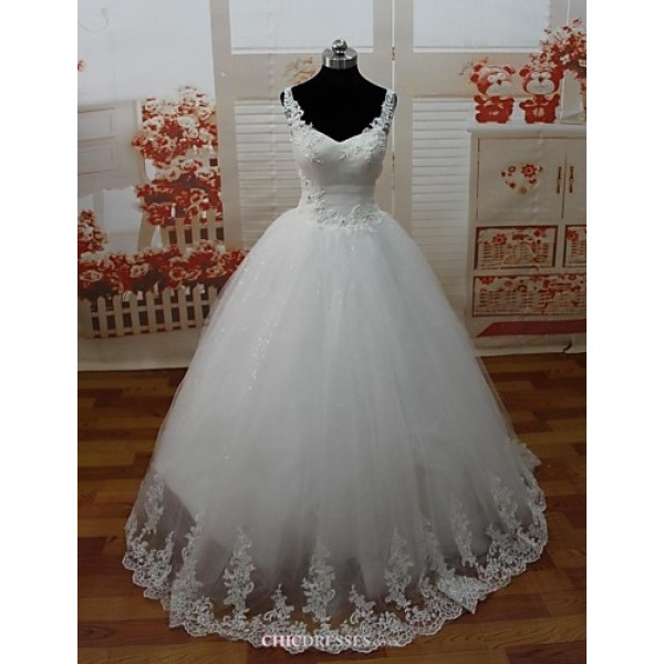 A-line Wedding Dress Floor-length Spaghetti Straps Lace/Tulle Wedding Dresses