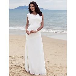 Sheath/Column Plus Sizes Wedding Dress - Ivory Floor-length Bateau Chiffon