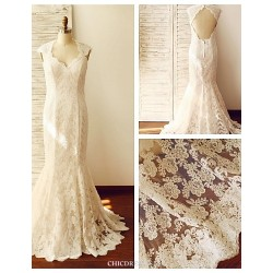 Trumpet/Mermaid Wedding Dress - Champagne Sweep/Brush Train Queen Anne Lace / Satin