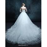 A-line Chapel Train Wedding Dress - Strapless Tulle Wedding Dresses