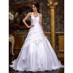 A-line/Princess Plus Sizes Wedding Dress - White Sweep/Brush Train Halter Organza