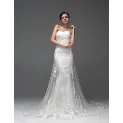 Fit & Flare Floor-length Wedding Dress -Sweetheart Satin