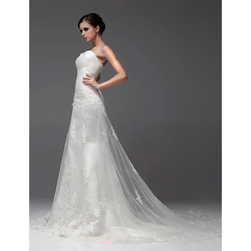 Fit Amp Flare Floor Length Wedding Dress Sweetheart Satin