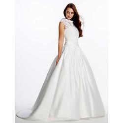 A-line Wedding Dress - Ivory Sweep/Brush Train High Neck Lace / Satin