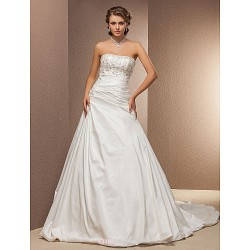 A Line Plus Sizes Wedding Dress Ivory Chapel Train Strapless Taffeta