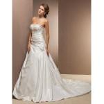 A-line Plus Sizes Wedding Dress - Ivory Chapel Train Strapless Taffeta Wedding Dresses