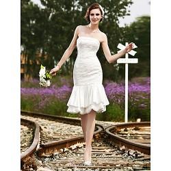 Trumpet Mermaid Plus Sizes Wedding Dress Ivory Knee Length Strapless Satin Lace