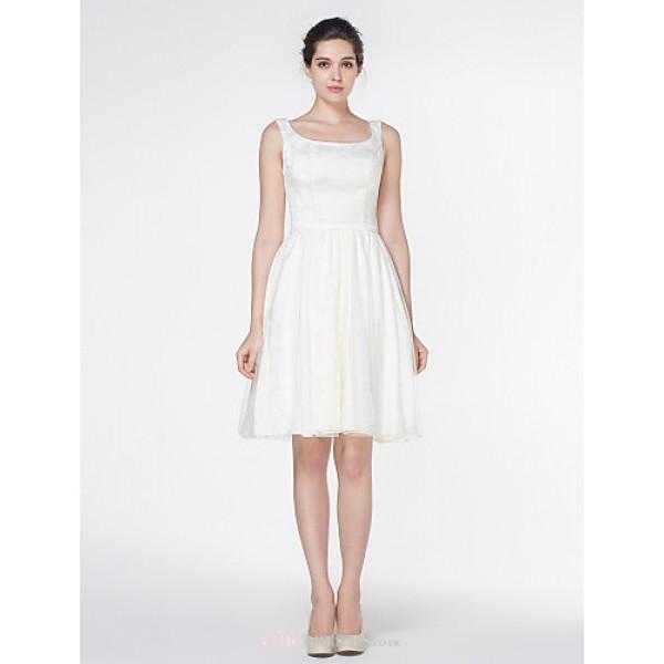- A-line Wedding Dress - Ivory Knee-length Square Satin / Tulle Wedding Dresses