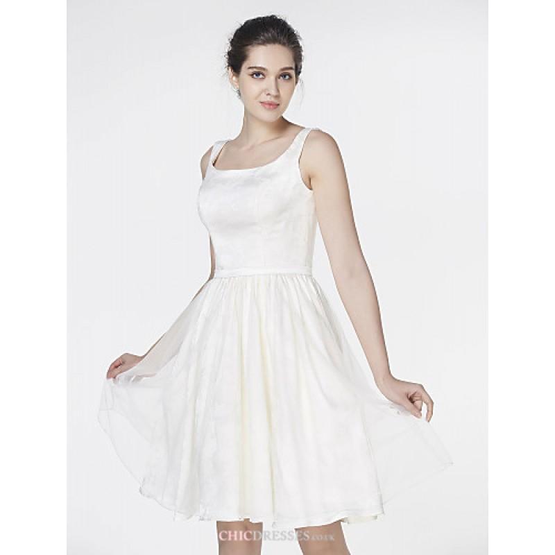 A line wedding dress ivory knee length square satin for Ivory knee length wedding dresses