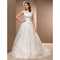 A-line Plus Sizes Wedding Dress - Ivory Chapel Train Scoop Organza/Lace