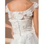 A-line Plus Sizes Wedding Dress - Ivory Chapel Train Scoop Organza/Lace Wedding Dresses